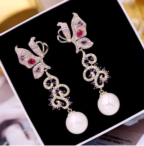 fashion metal diamond butterfly pearl earrings NHSC333426's discount tags