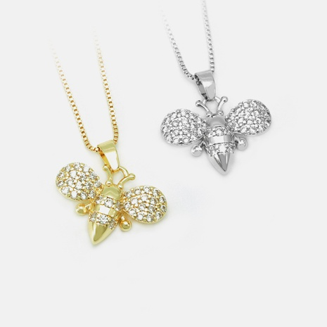 Fashion bee zircon copper necklace wholesale NHWV332931's discount tags