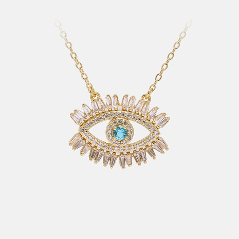 Fashion Devil's eyes zircon copper necklace NHWV332935's discount tags