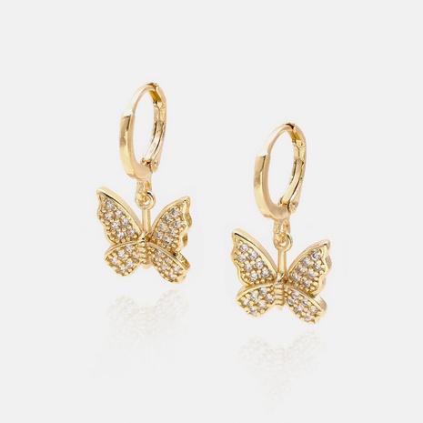 Großhandel Mode vergoldete Zirkon Schmetterlingsohrringe NHWV332943's discount tags