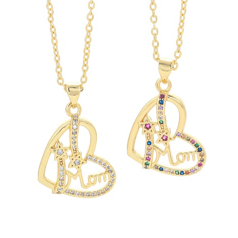 fashion letter MOM chain color zircon necklace NHWG332952's discount tags