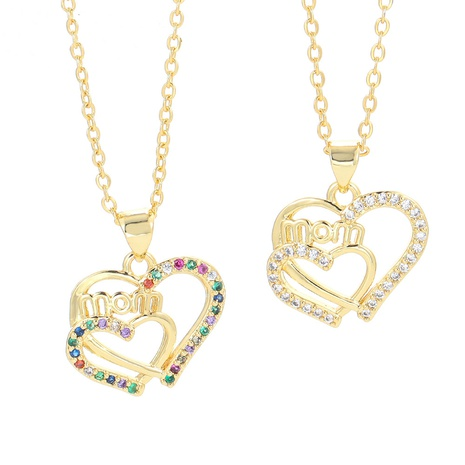 fashion letter MOM chain color zircon necklace NHWG332953's discount tags