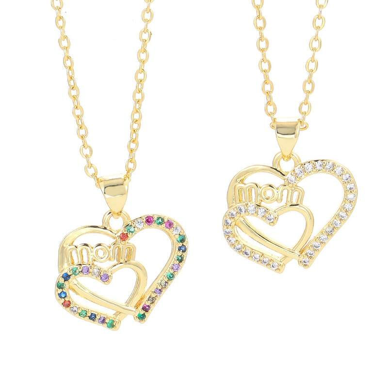 fashion letter MOM chain color zircon necklace NHWG332953
