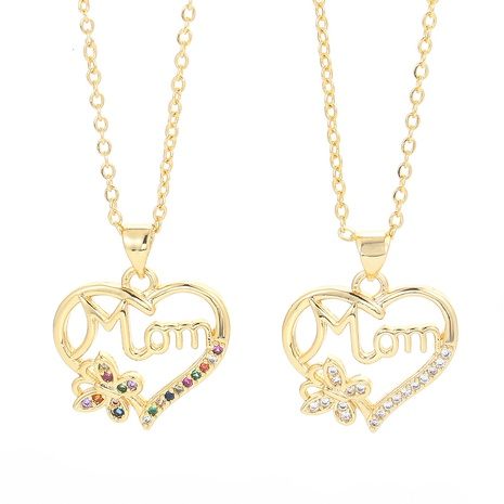 fashion letter MOM chain color zircon necklace NHWG332958's discount tags