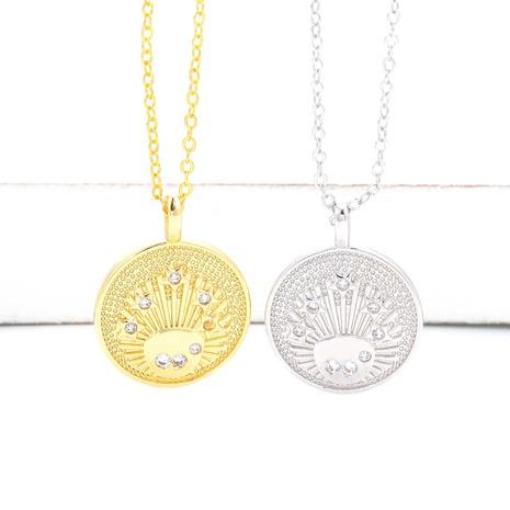 new retro zircon round pendant necklace NHWG332959's discount tags