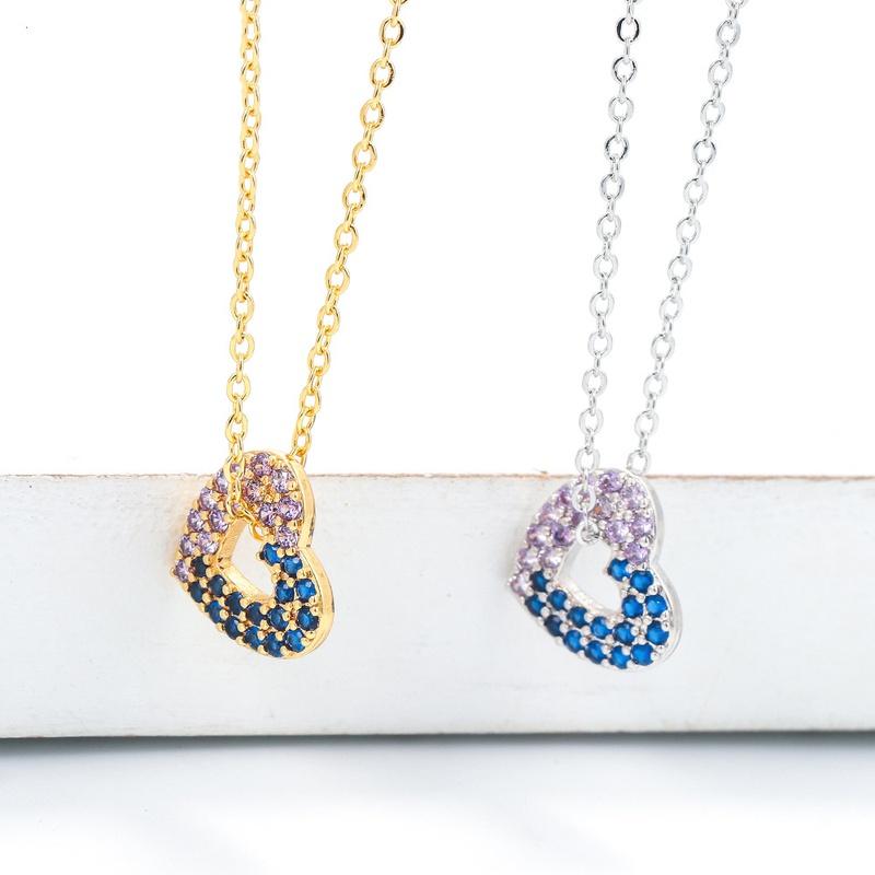 Korean hollow heart-shaped zircon copper necklace NHWG332960