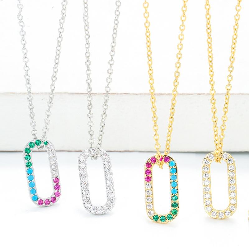 fashion copper geometric square hollow necklace NHWG332961