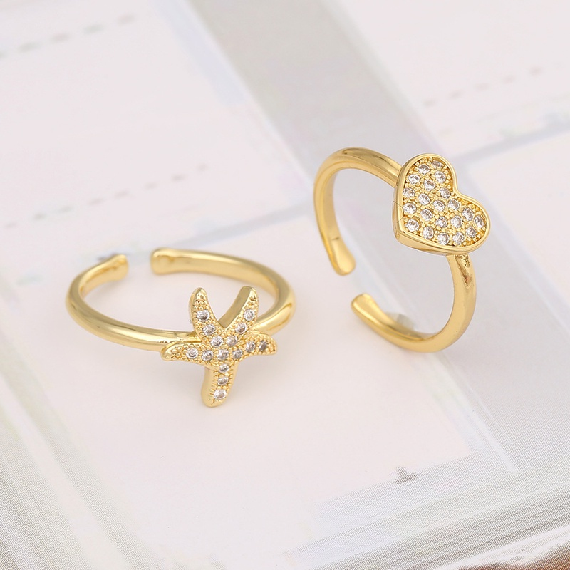 simple Starfish Love Heart Ring  NHBU333349