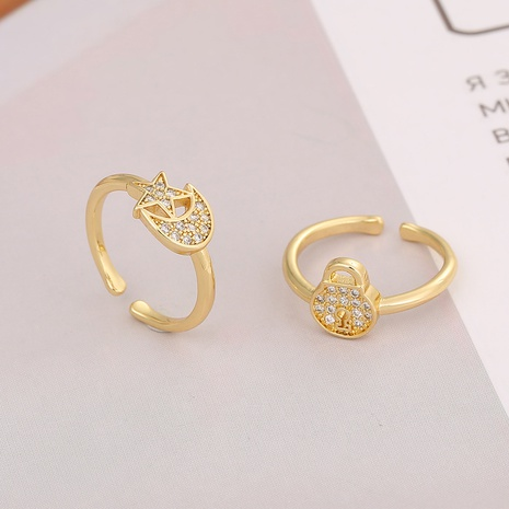 fashion Lock Star Moon Ring NHBU333357's discount tags