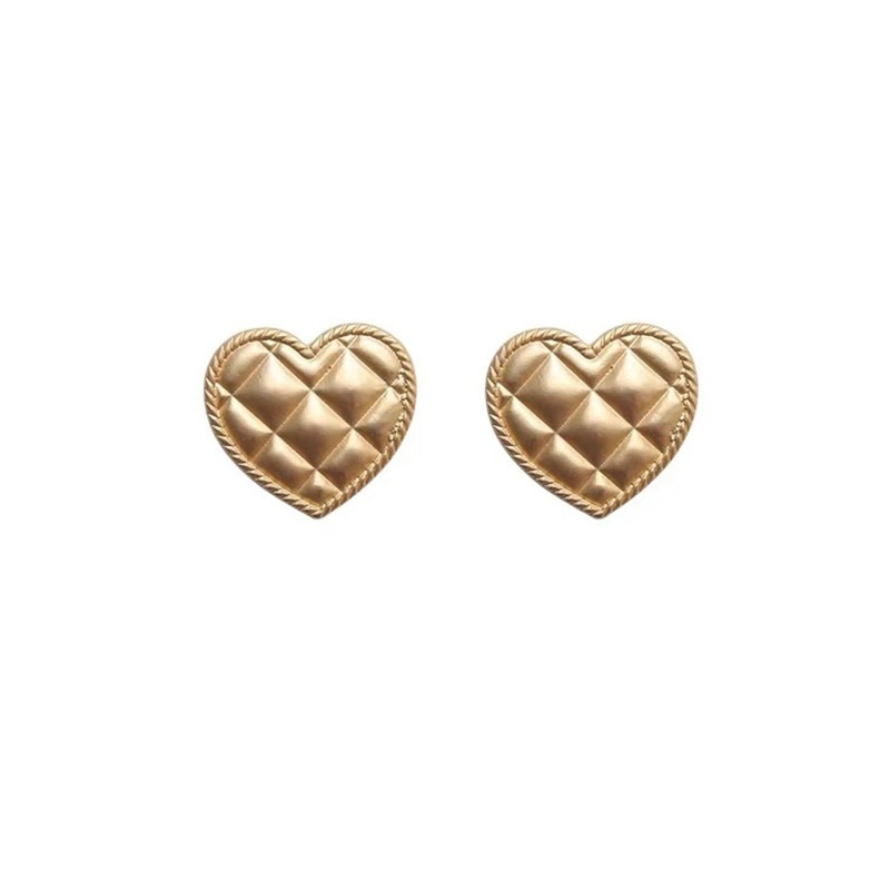 Korea gold diamond patternheart-shape earrings NHAQ332014