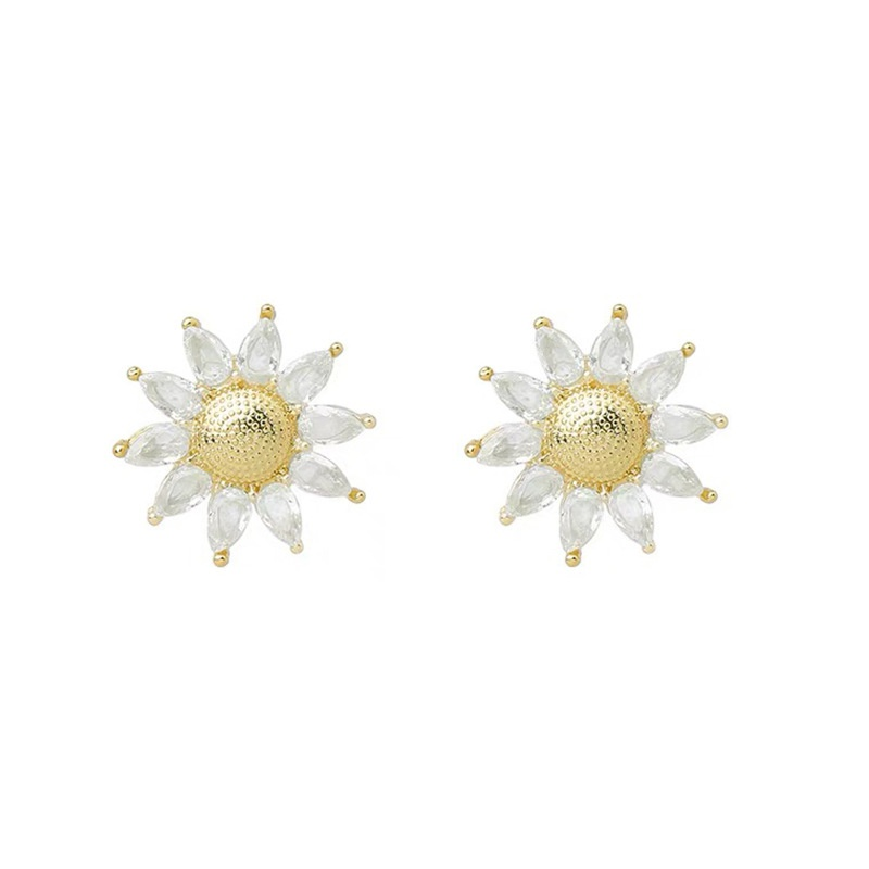 Korean sun flower rhinestone alloy earrings wholesale NHAQ332002