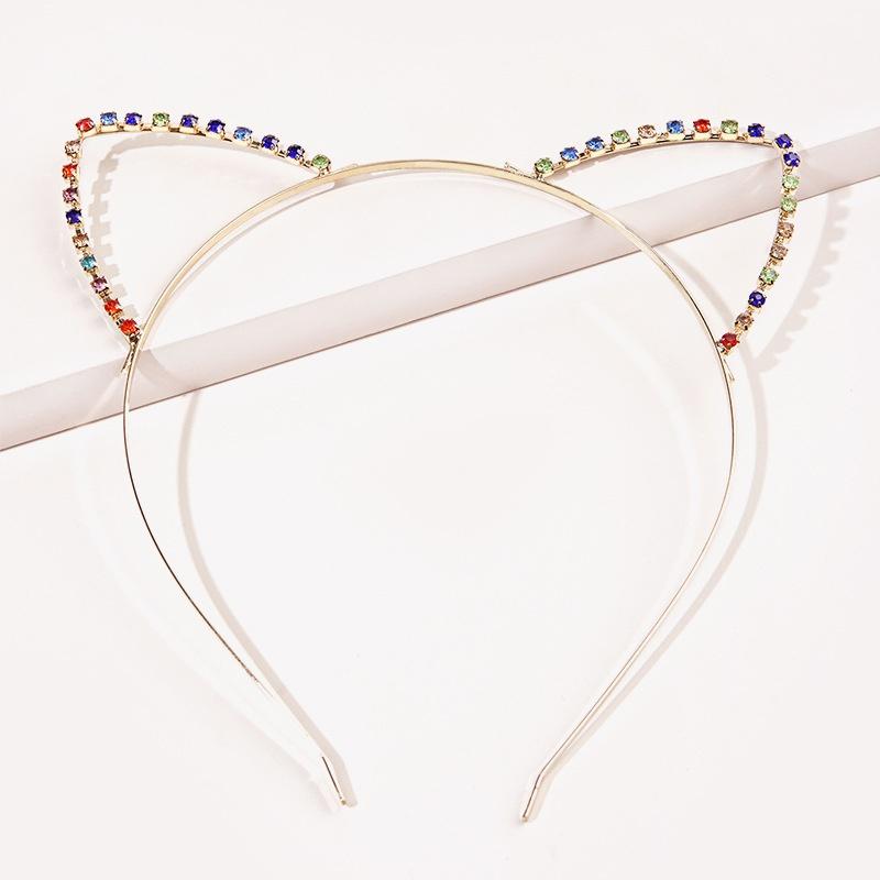 Korean color diamond cat ear headband NHGE333299