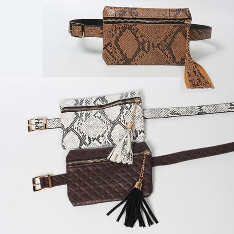 Hüfttasche mit dünner Gürtelquaste und Schlangenmuster NHJSR333703's discount tags