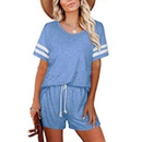 womens striped round neck tie short casual twopiece suit NHUO333941