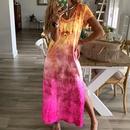 fashion print Vneck split contrast color shortsleeved dress NHUO333939