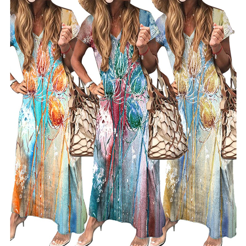 Womens Printed Casual Loose Vneck Dress NHUO333938