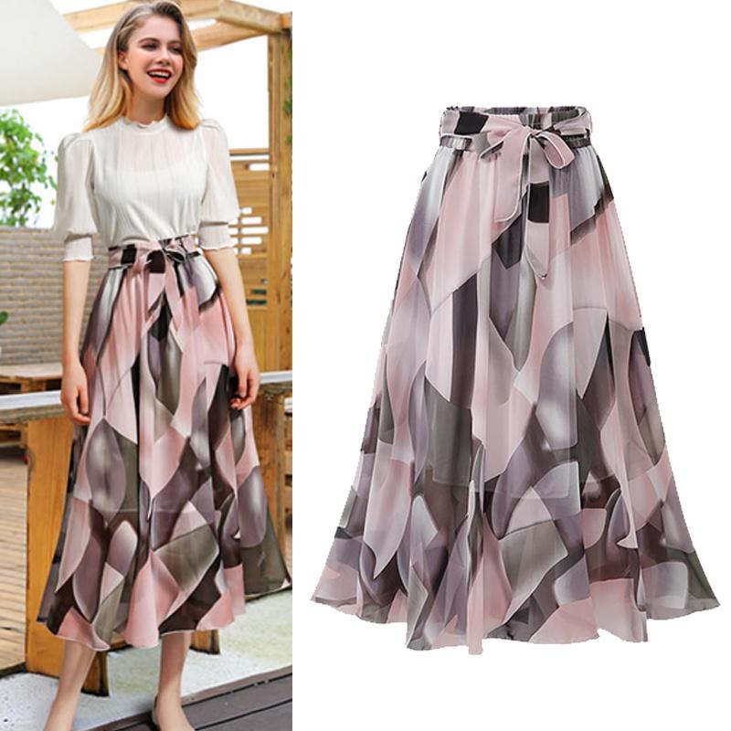 fashion floral chiffon bow midlength large dress NHUO333937