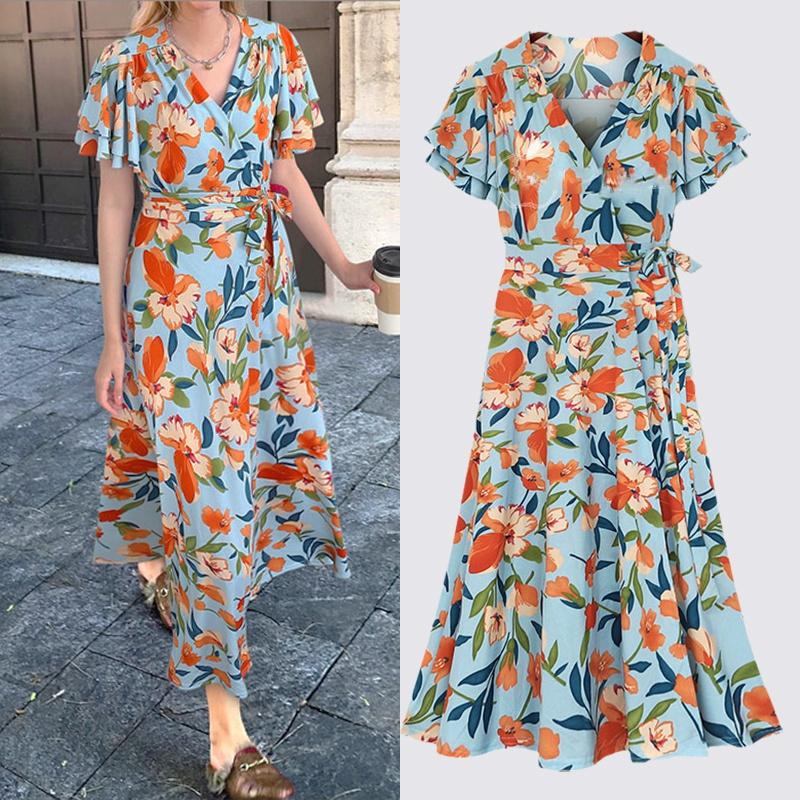 summer loose Vneck waistband printing long dress NHUO333935