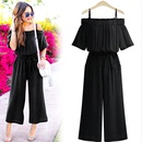 fashion laceup oneshoulder sling waist onepiece trousers NHUO333934