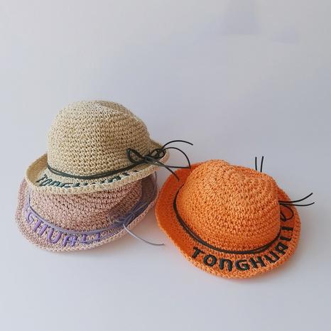 Chapeau de paille pour enfants avec lettre arc coréen NHQU333415's discount tags