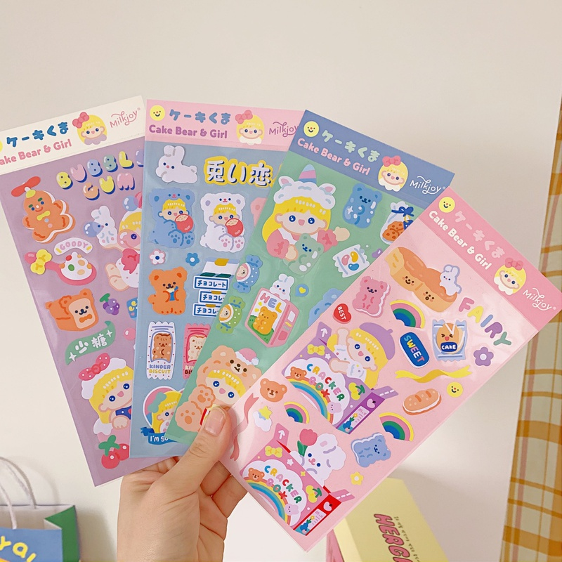 Korea bear hand account decoration stickers cup mobile phone fun stickers NHZE333814