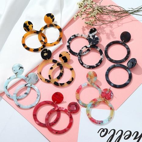 fashion leopard print hollow acrylic earrings  NHPF347620's discount tags