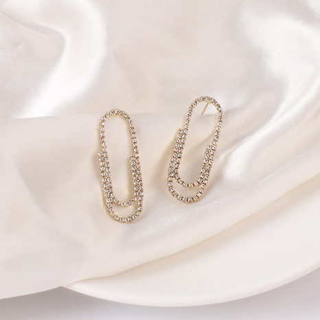 Fashion paper clip rhinestone alloy earrings wholesale NHRN347623's discount tags