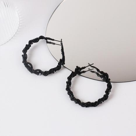 Fashion big circle black crystal alloy earrings wholesale NHRN347626's discount tags