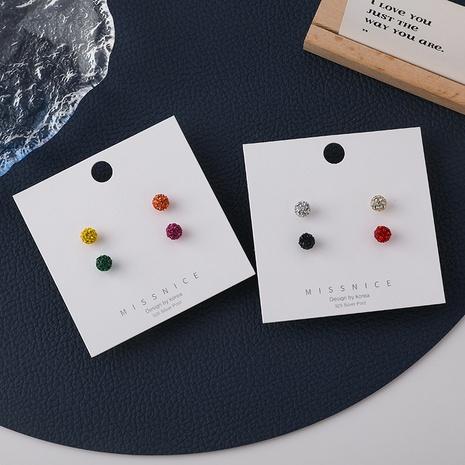 Korean Cute Color Round Mini Ball Earrings 4 Piece Set NHMS347719's discount tags