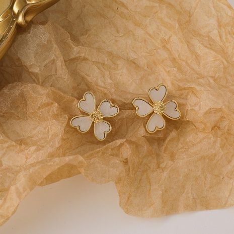 Korean heart-shape four-petal flower alloy earrings wholesale NHMS347721's discount tags