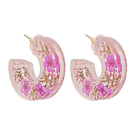 Fashion transparent resin flower C-shaped earrings NHJJ347749's discount tags