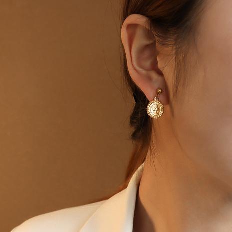 Fashion queen portrait titanium steel earrings  NHOK347774's discount tags