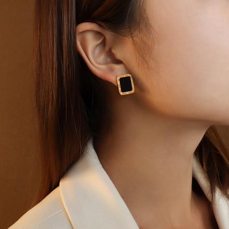 Fashion Rectangle Roman Numeral Square Black Shell Titanium Steel Earrings NHOK347775's discount tags