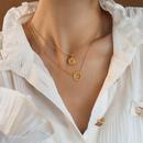 Fashion sun goddess double layer titanium steel necklace wholesale NHOK347777