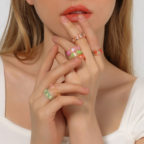 simple transparent fruit acrylic ring wholesale NHDP347805's discount tags