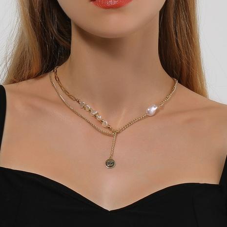 Mode unregelmäßige Perle Smiley Gesicht Doppelschicht Legierung Halskette Großhandel NHDP347813's discount tags
