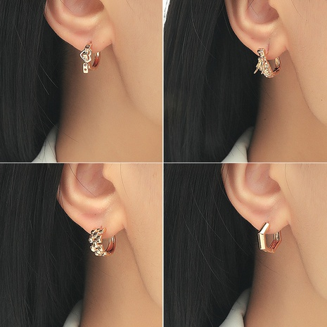 Fashion bow copper inlaid zircon earrings wholesale NHDP347824's discount tags