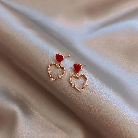 Fashion heart-shape rhinestone alloy earrings wholesale NHXI347832's discount tags