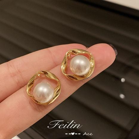 Korean geometric pearl alloy earrings wholesale NHXI347836's discount tags