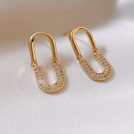 Fashion oval rhinestone geometric alloy earrings wholesale NHXI347838's discount tags