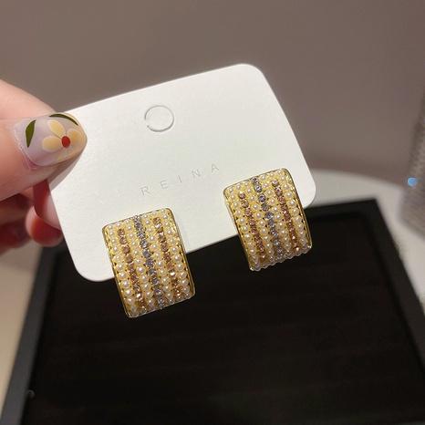 Fashion geometric pearl rhinestone alloy earrings wholesale NHXI347850's discount tags