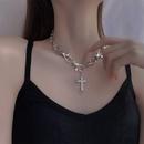 Fashion cross rhinestone alloy necklace wholesale NHYQ347869