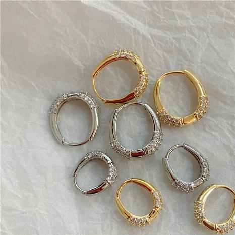 Korean geometric oval rhinestone alloy earrings wholesale NHYQ347880's discount tags