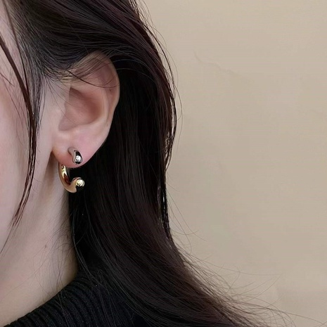 Gold silver mixed color half circle alloy earrings wholesale NHYQ347889's discount tags