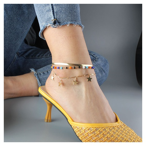 Fashion lightning star alloy anklet wholesale NHCT347942's discount tags