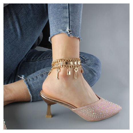 Fashion geometric lock multi-layer anklet wholesale NHCT347944's discount tags