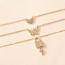 korean fashion simple style crystal peach heart butterfly lock threelayer necklace NHOT348861