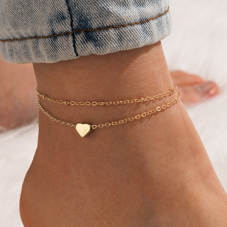 fashion double-layer heart-shaped love anklet NHGY348852's discount tags