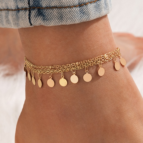 New fashion korean style beach color disc tassel anklet 3-piece set NHGY348848's discount tags