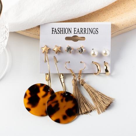 Boucles d'oreilles à pampilles à plaque imprimé léopard NHOT348846's discount tags